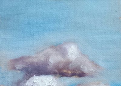 Cloud study, 6″ x 4″ oil on canvas board
