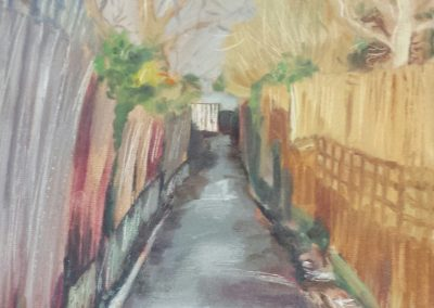 Yateley alleyway – oil on board