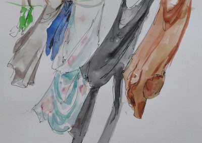 Washing on the line – pen and wash