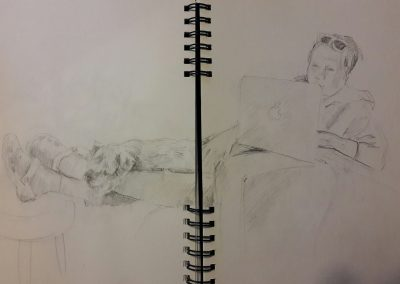 Louise and Reg – pencil in sketchbook