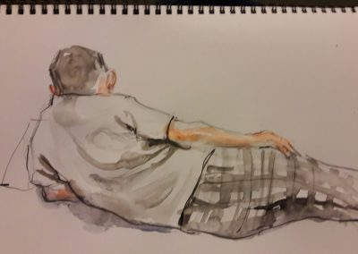 Julian watching tv – waterbrush in sketchbook