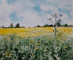 Summer field in watercolour