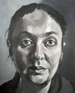 black and white acrylic portrait