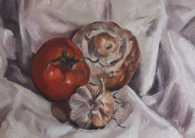 Tomato, mushroom and garlic